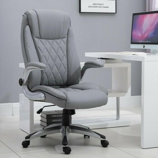 Vinsetto® Bürostuhl Drehstuhl Computerstuhl mit Wippfunktion höhenverstellbar Kunstleder Grau