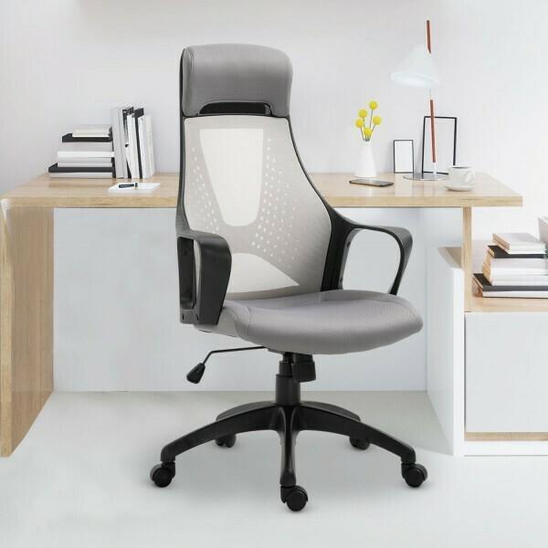 Vinsetto® Bürostuhl Gaming-Sessel Drehstuhl höhenverstellbar Wippfunktion Schaumstoff Grau