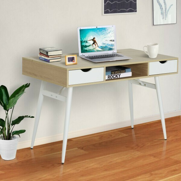 HOMCOM® Schreibtisch PC-Tisch Bürotisch Arbeitstisch Computertisch mit 2 Schubladen
