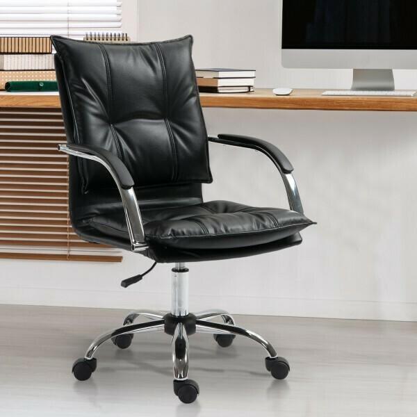Vinsetto® Bürostuhl Drehstuhl höhenverstellbar rollbar ergonomisch PU schwarz