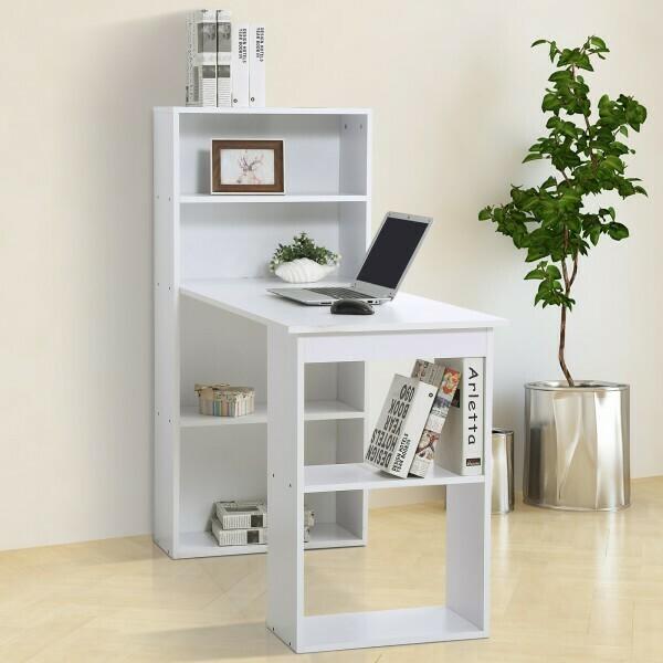 HOMCOM® Schreibtisch mit Regal Computertisch Weiss