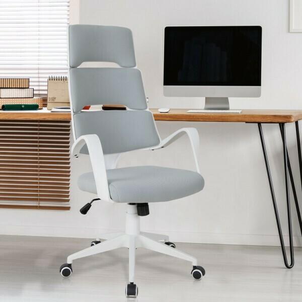 Vinsetto® Drehstuhl Bürostuhl Chefsessel Kippfunktion Höhenverstellbar Grau Leinen