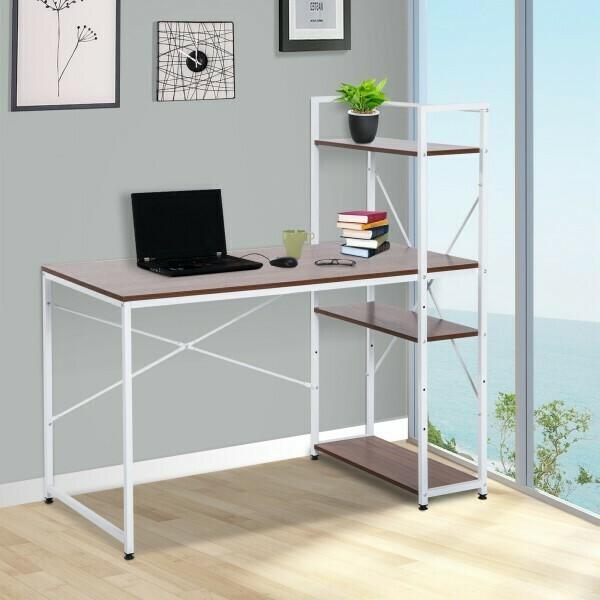 HOMCOM® Schreibtisch Computertisch Bürotisch mit Regal Walnuss Weiss