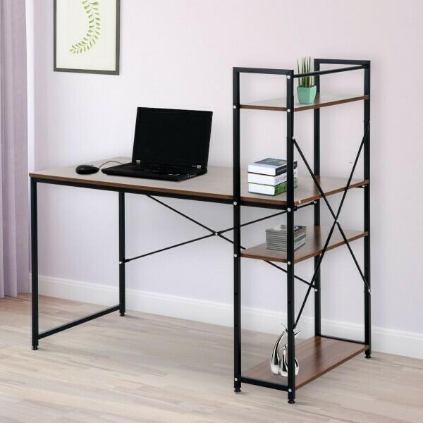 HOMCOM® Schreibtisch Computertisch Bürotisch mit Regal Walnuss Schwarz