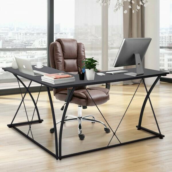 Outlet: Vinsetto® Computertisch L-Form Schreibtisch Verstellbare Füsse X-Beine MDF