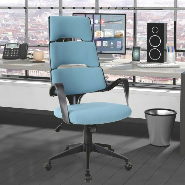 Vinsetto® Drehstuhl Bürostuhl Chefsessel Kippfunktion Höhenverstellbar Blau Leinen