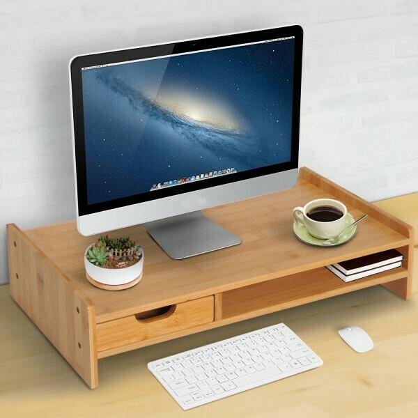 HOMCOM® Monitorständer Bildschirmständer mit Schubladen Natur