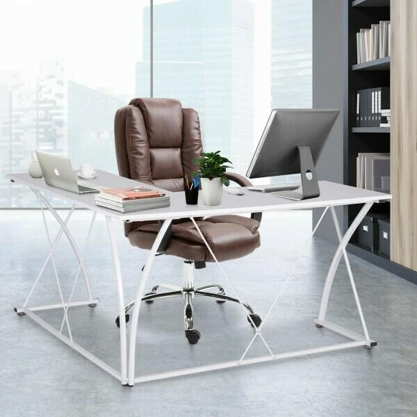 Vinsetto® Computertisch L-Form Schreibtisch Verstellbare Füsse X-Beine