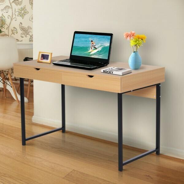HOMCOM® Schreibtisch PC-Tisch Computertisch mit 2 Schubladen Holz + Metall Natur