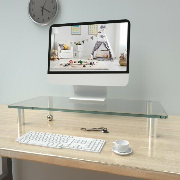 Vinsetto® Monitorständer Bildschirmständer Monitorhalter höhenverstellbar Glas Metal