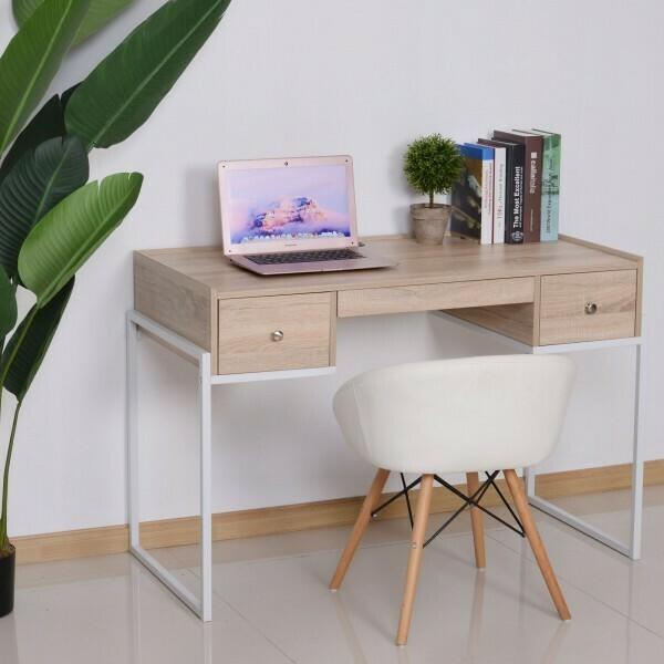 HOMCOM® Schreibtisch Computertisch Laptoptisch Bürotisch 3xSchublade verstellbar Holz+Metall Natur+Weiss