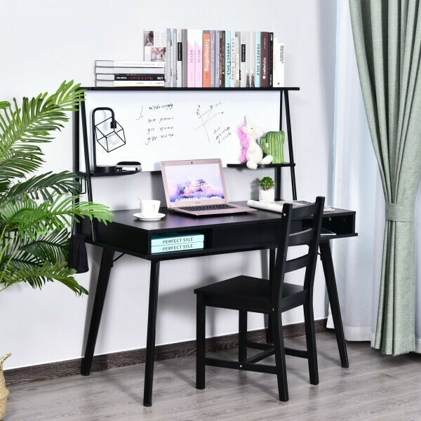 HOMCOM® Schreibtisch Computertisch Bürotisch mit Whiteboard und Schublade Haken PP Schwarz