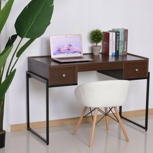 HOMCOM® Schreibtisch Computertisch Bürotisch 3 x Schublade verstellbar Holz + Metall Walnuss + Schwarz
