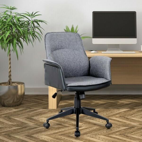 Vinsetto® Bürostuhl Drehstuhl Computerstuhl Wippfunktion Höhenverstellbar Leinen Grau