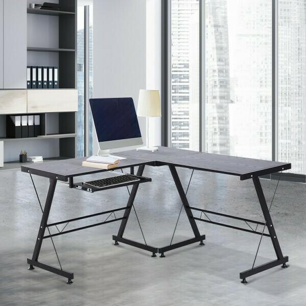 HOMCOM® Computertisch Schreibtisch Arbeitsstation flexibel MDF Stahl Schwarz