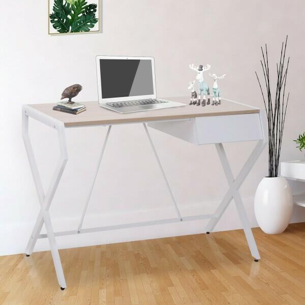 HOMCOM® Schreibtisch Computertisch mit Schublade Spanplatte Metallrahmen 20 kg Belastbarkeit Weiss + Natur