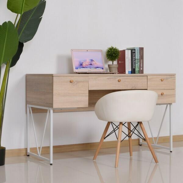 HOMCOM® Schreibtisch Computertisch PC Laptop Bürotisch 3xSchublade 1xAblage Holz+Metall Natur+Weiss