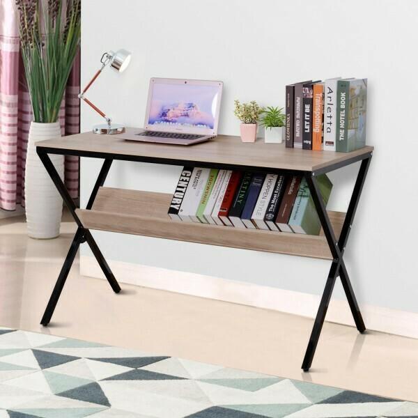 HOMCOM® Schreibtisch Computertisch Laptop Tisch Bürotisch 1 x Ablage Holz + Metall Natur + Schwarz