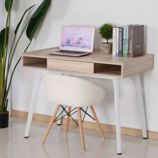 HOMCOM® Schreibtisch Computertisch PC Laptop Bürotisch mit Kabeldurchlass Holz + Metall Natur + Weiss