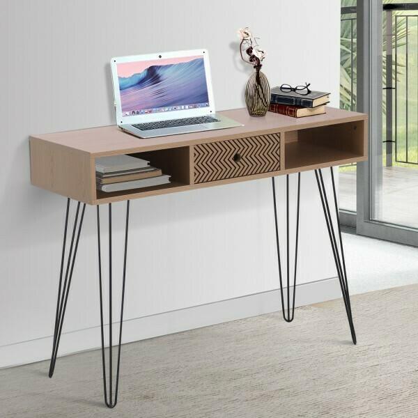 HOMCOM® Schreibtisch PC-Tisch Bürotisch Arbeitstisch Computertisch mit Zickzackmuster Natur