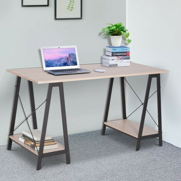 Vinsetto® Computertisch Bürotisch Schreibtisch Arbeitstisch Esstisch 2 Regale