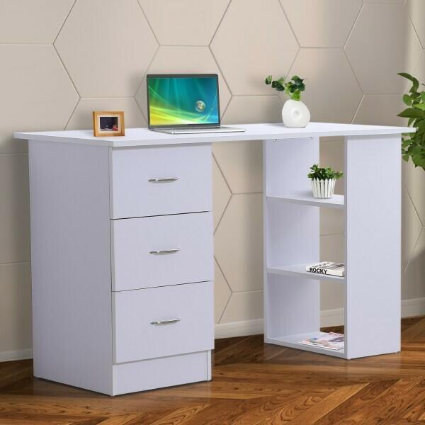 HOMCOM® Schreibtisch Computertisch mit Schubladen Weiss
