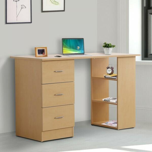 HOMCOM® Schreibtisch Computertisch mit Schubladen Natur