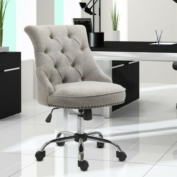 HOMCOM® Drehstuhl Polsterstuhl Chefsessel 150 kg Belastbarkeit eingestellte Sitzhöhe Leinen Hellgrau