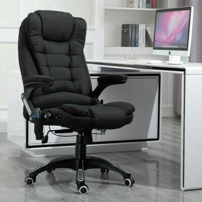 Vinsetto® Bürostuhl Massagesessel Drehstuhl höhenverstellbar 130° Winkel Leinen Schwarz