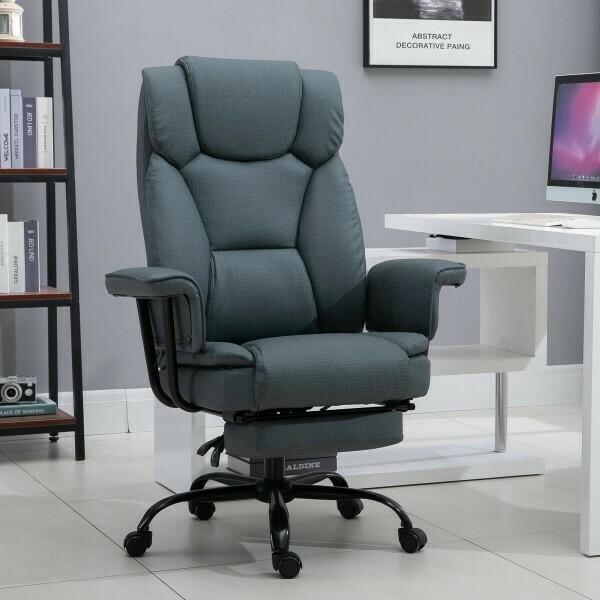 Vinsetto® Bürostuhl Chefsessel Computerstuhl höhenverstellbar 360° drehbar Grau Kunstleder