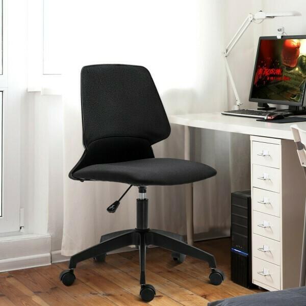 Vinsetto® Drehstuhl Bürostuhl Schreibtischstuhl rollbar höhenverstellbar ergonomisch gepolstert Leinen grau