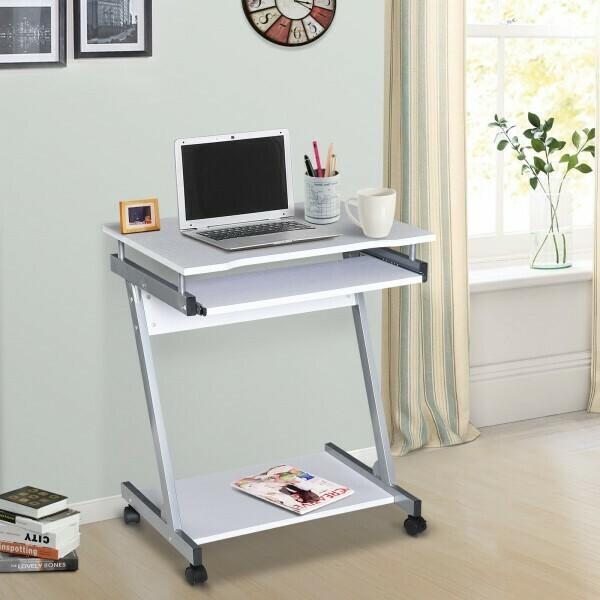 HOMCOM® Schreibtisch Computertisch Bürotisch Rollbar mit Tastaturauszug Spanplatte, Stahl Weiss