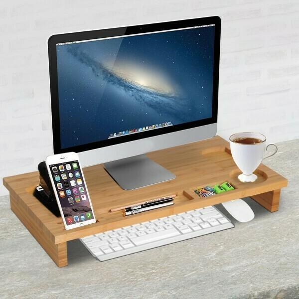 HOMCOM® Monitorständer Bildschirmständer 7 Steckplätze Laptop Bambus