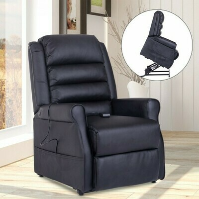 HOMCOM® Massagesessel Elektrischer Relaxsessel Fernsehsessel mit Wärmefunktion Liegefunktion Aufstehhilfe PU Schwarz