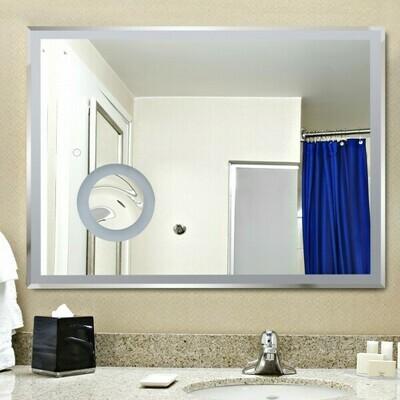 kleankin® LED Badspiegel Badezimmerspiegel Wandspiegel Touchschalter Vergrößung Alurahmen Silber