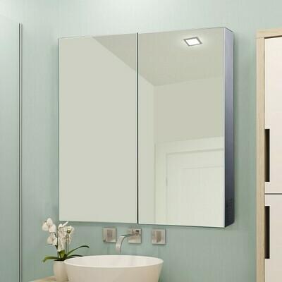 HOMCOM® Spiegelschrank LED Badspiegel Edelstahl