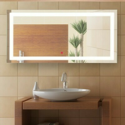 HOMCOM® Badezimmerspiegel LED Lichtspiegel 53W Alu 120x60cm