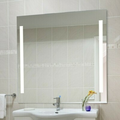 HOMCOM® LED Lichtspiegel Badezimmer Wandspiegel Alu 50W