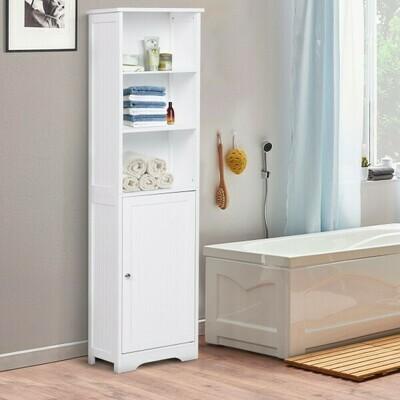 kleankin® Kommode Badezimmerschrank Badschrank Badregal Standschrank verstellbare Regale Holz Weiss