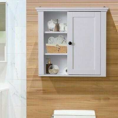 HOMCOM® Badschrank Küchenschrank Hängeschrank Wandschrank vestellbarer Einlegeboden 3 x Fach Holz Weiss