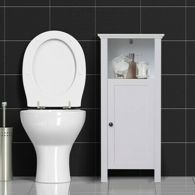 HOMCOM® Badschrank Badmöbel Badezimmerschrnak Wandschrank 3 x Fach Holz Weiss