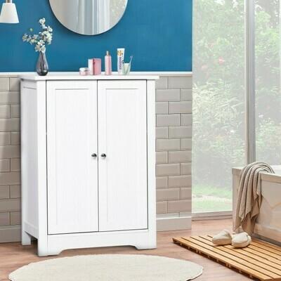 kleankin® Kommode Badezimmerschrank Badschrank Badregal Standschrank 3 verstellbare Regale Holz Weiss