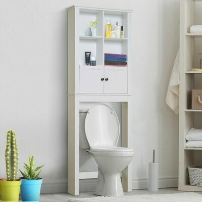 HOMCOM® Badschrank Hochschrank Badmöbel Wandschrank Mehrzweckschrank 6 x Fach Holz Weiss