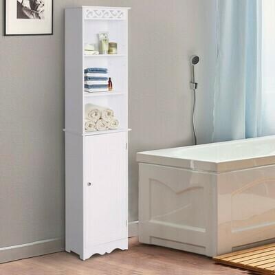 HOMCOM® Badschrank Wäscheschrank Standregal Aufbewahrung 6 Fächer MDF Weiss