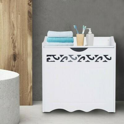 HOMCOM® Badschrank Wäschekorb Truhe Kiste Aufbewahrungsbox mit Deckel MDF Weiss