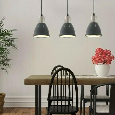 HOMCOM® 3er Hängeleuchte Deckenstrahler Industrie Vintage E27 40W Küche Bar Metall schwarz ∅13 x H16 cm
