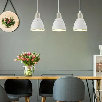 HOMCOM® 3er Hängeleuchte Deckenstrahler Industrie Vintage E27 40W Küche Bar Metall weiß ∅13 x H16 cm