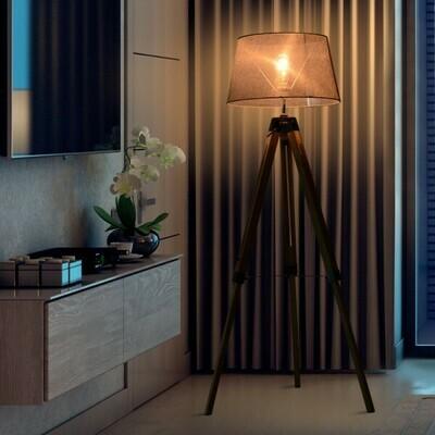 HOMCOM® Stehlampe Tripod höhenverstellbar Standleuchte Stehleuchte 40W Holz+Leinen grau 65 x 65 x (99–143) cm