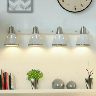 HOMCOM® Wandleuchte 4er-Set Wandstrahler schwenkbar Spot Wandlampe E27 40W Metall weiß ∅13 x L16 cm (ohne Birne)