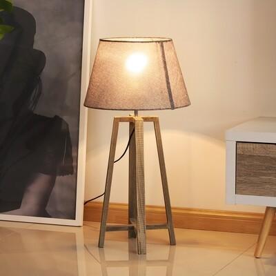 HOMCOM® Tischlampe Nachttischlampe Stehlampe Stoffschirm Minimalistisch Büro Holz grau 40 W Skandinavisch 33 x 33 x 68,5 cm